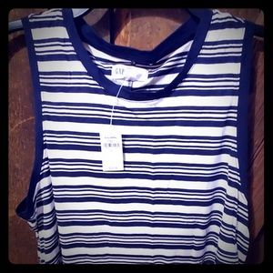 NWT navy  and whitestripe tank top